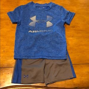 Under Armour 2T royal gray 2 pc short outfit
